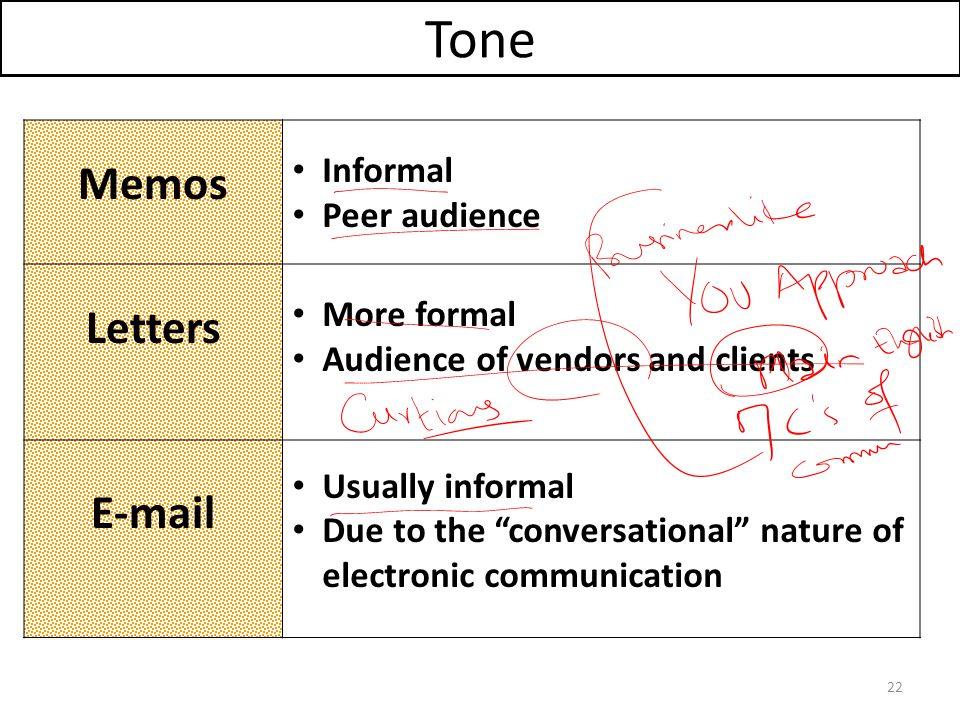 Tone Memos Letters E-mail Informal Peer audience More formal