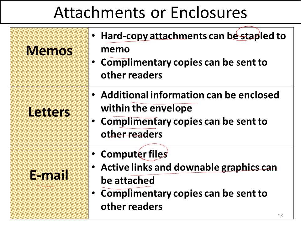 Attachments or Enclosures