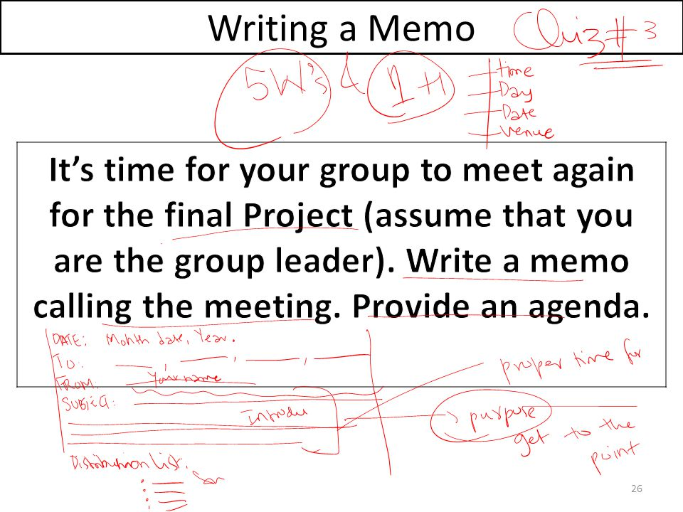 Writing A Memo  Project Memo Template