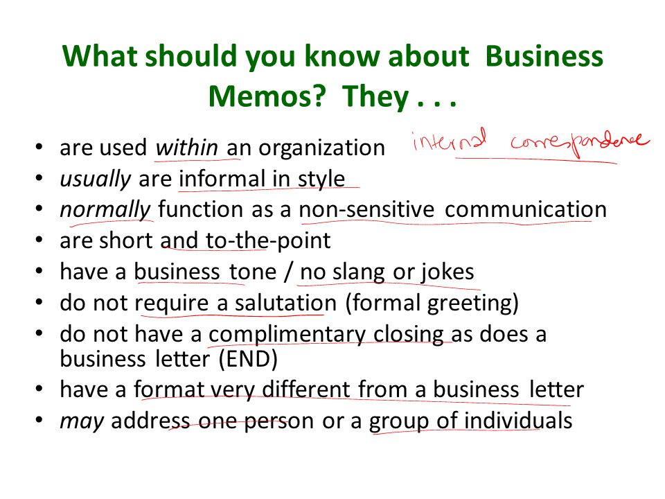 What should you know about Business Memos They . . .