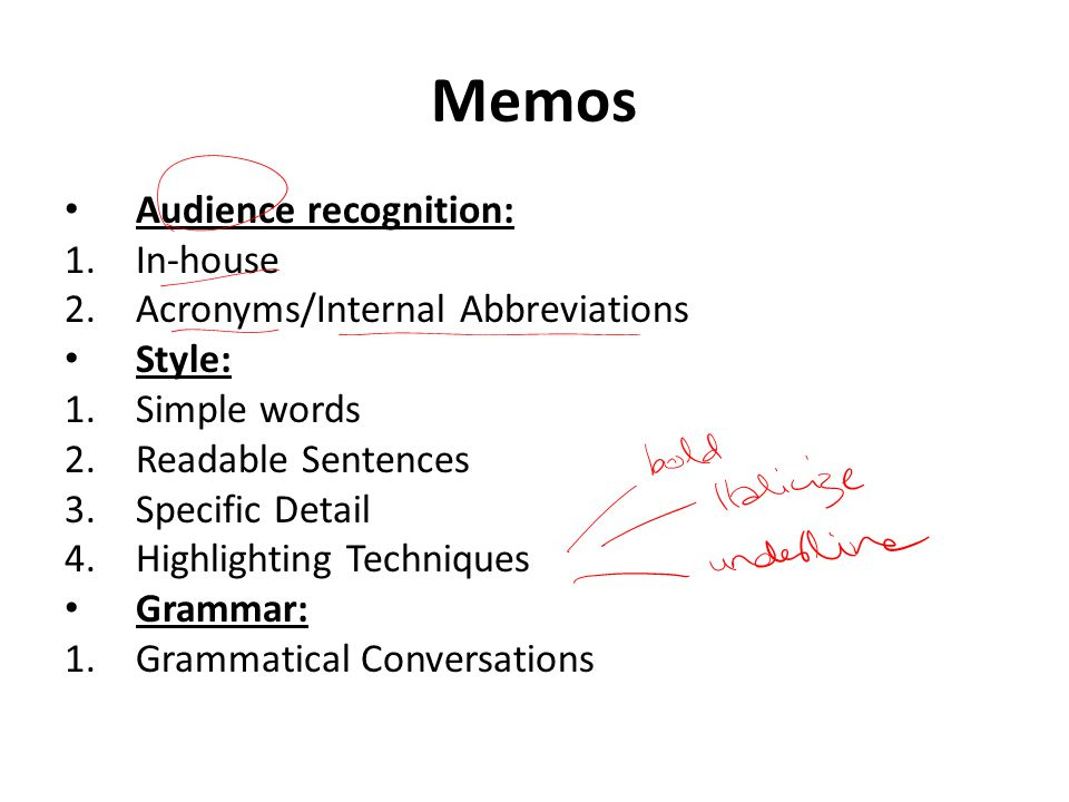 Memos Audience recognition: In-house Acronyms/Internal Abbreviations