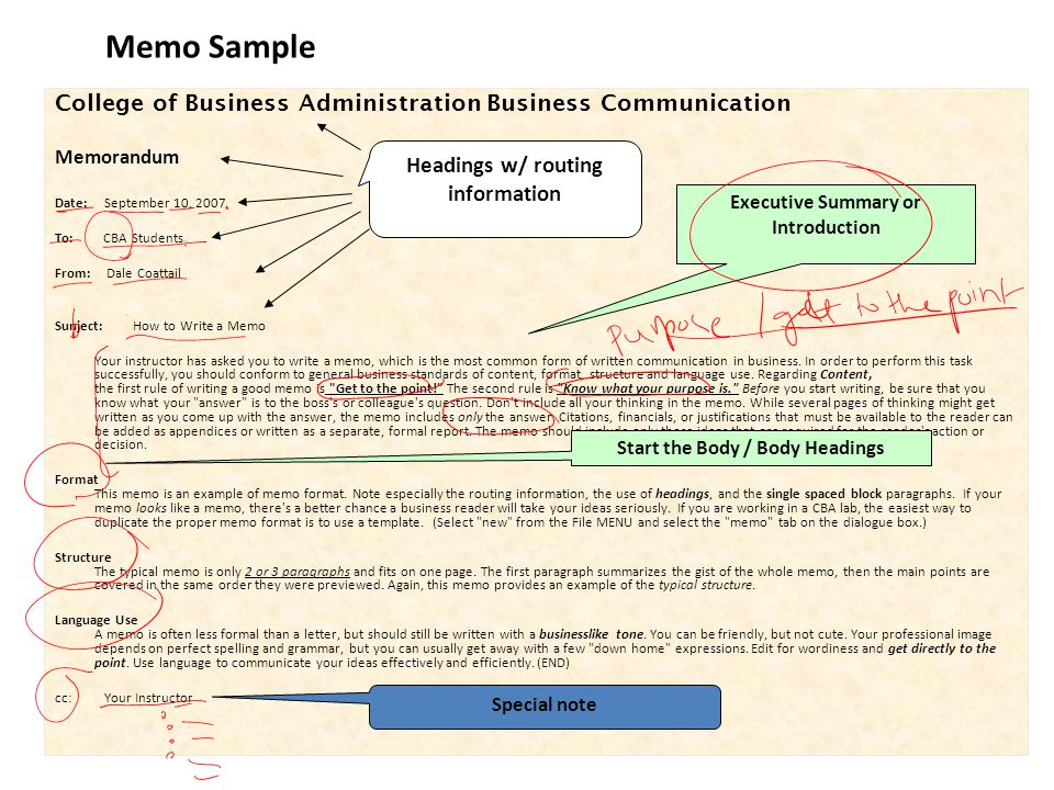 Memo Sample College of Business Administration Business Communication