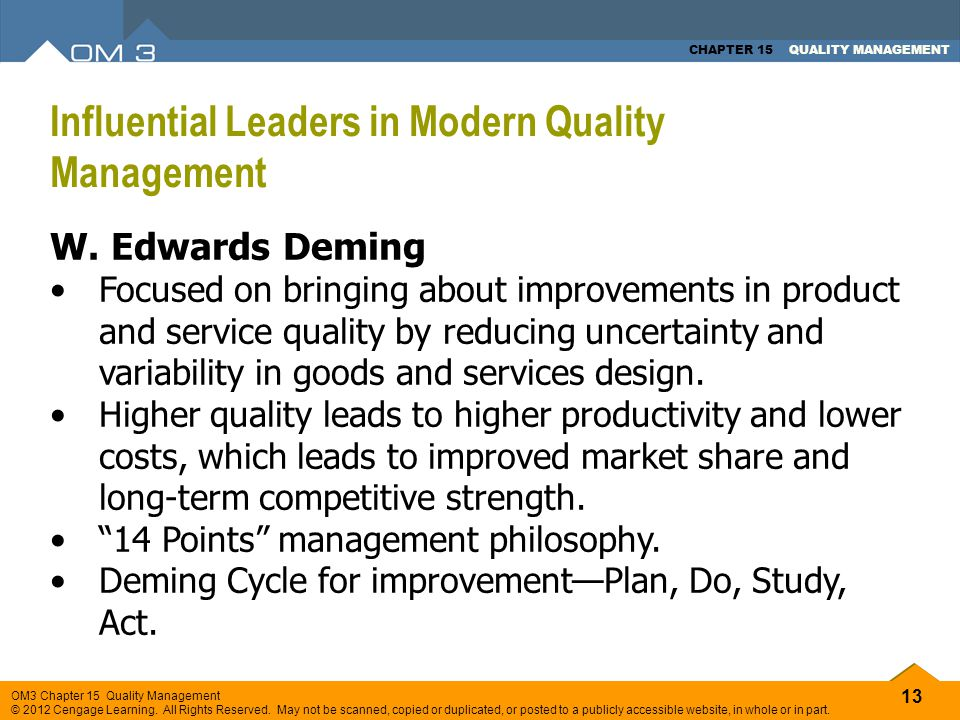 Influential Leaders in Modern Quality Management
