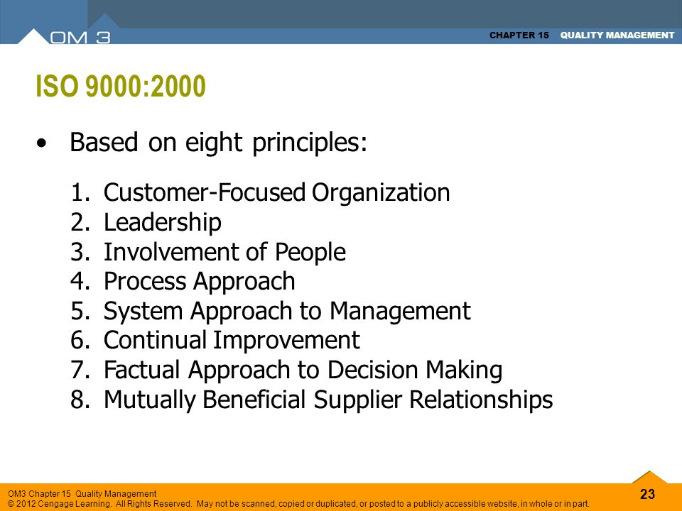 ISO 9000:2000 Based on eight principles: Customer-Focused Organization