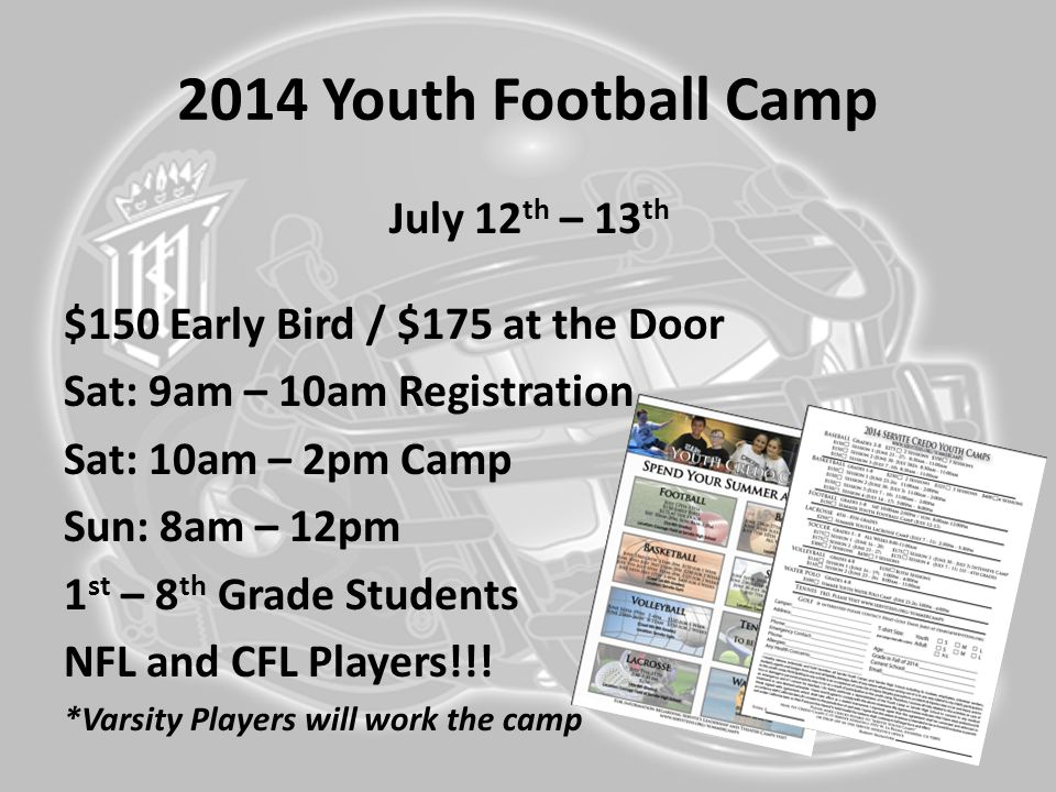 2014 Youth Football Camp July 12th – 13th
