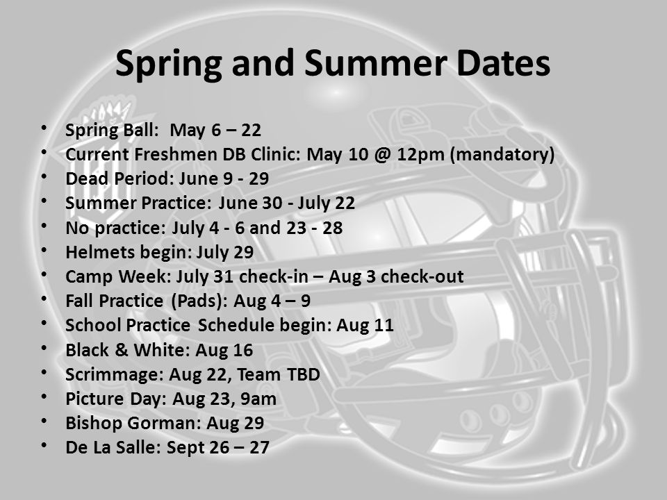 Spring and Summer Dates