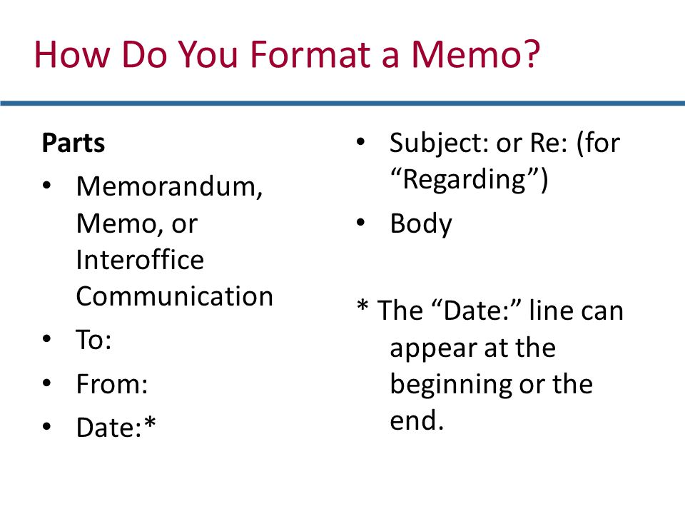 How Do You Format a Memo Parts
