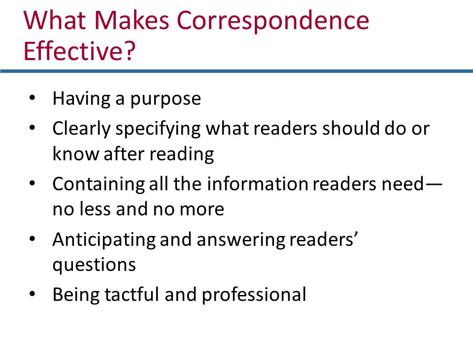 What Makes Correspondence Effective