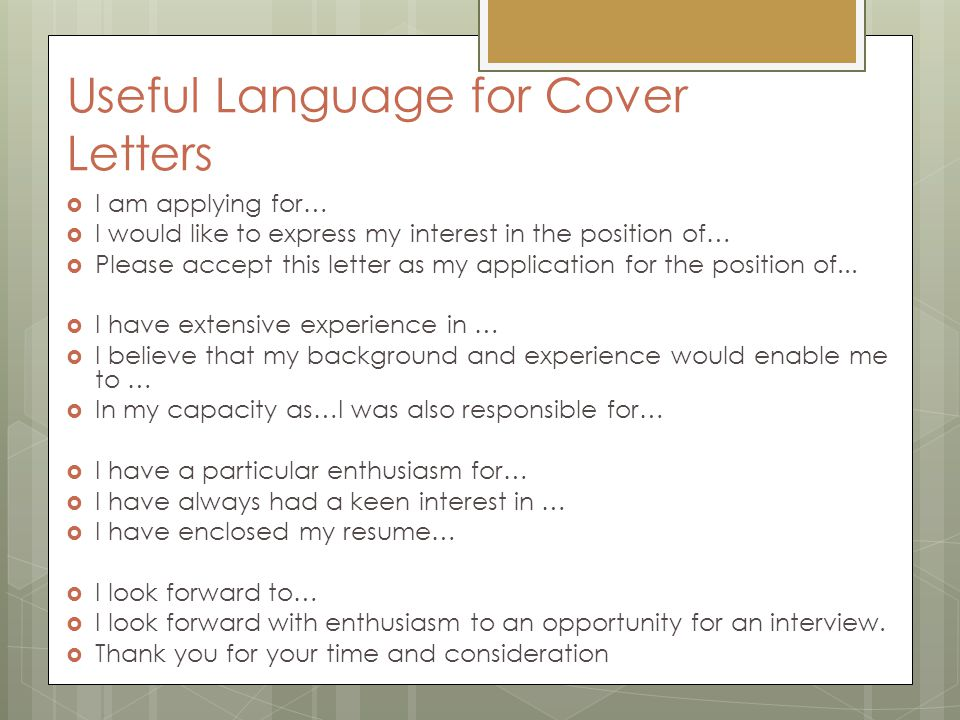 application letter cover letter ppt