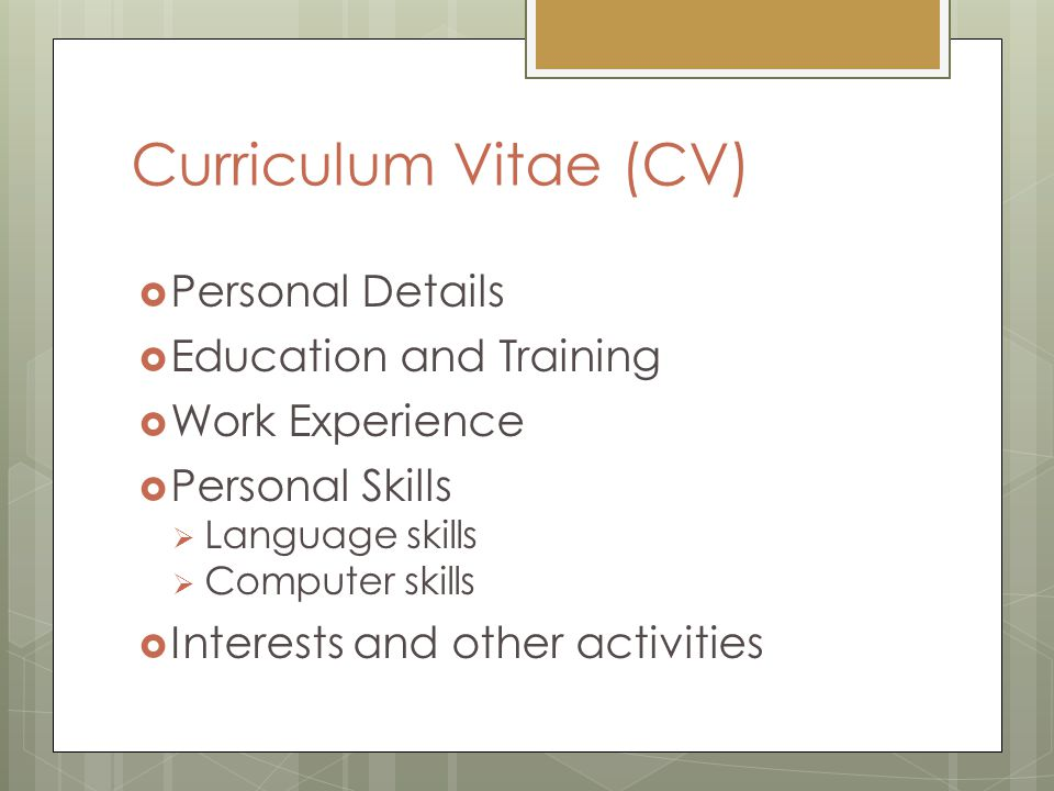 Curriculum Vitae (CV) Personal Details Education and Training