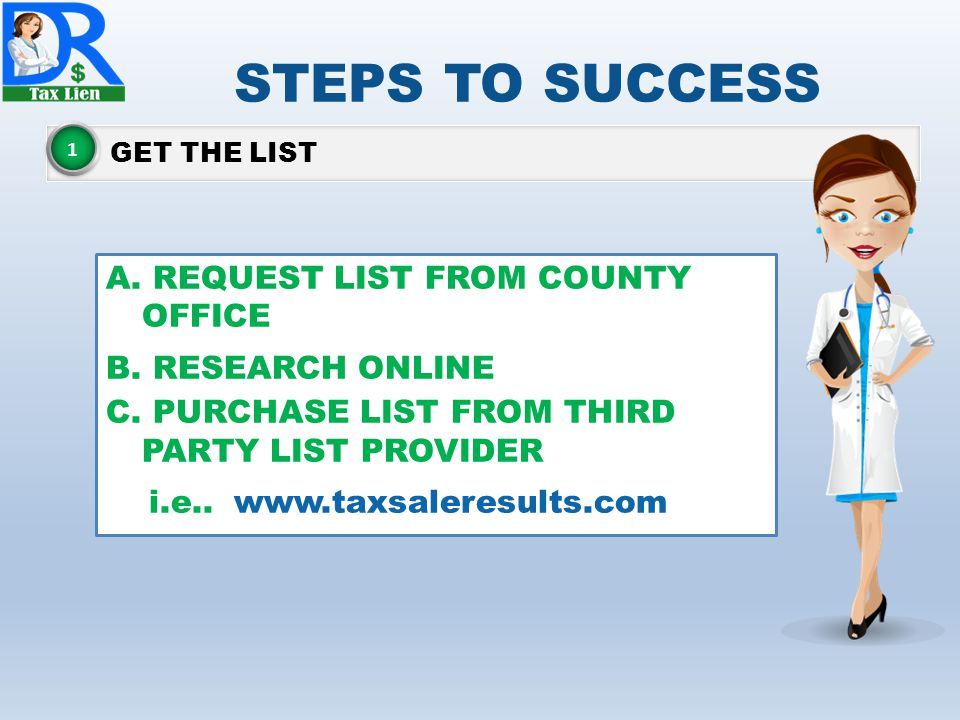 STEPS TO SUCCESS REQUEST LIST FROM COUNTY OFFICE RESEARCH ONLINE