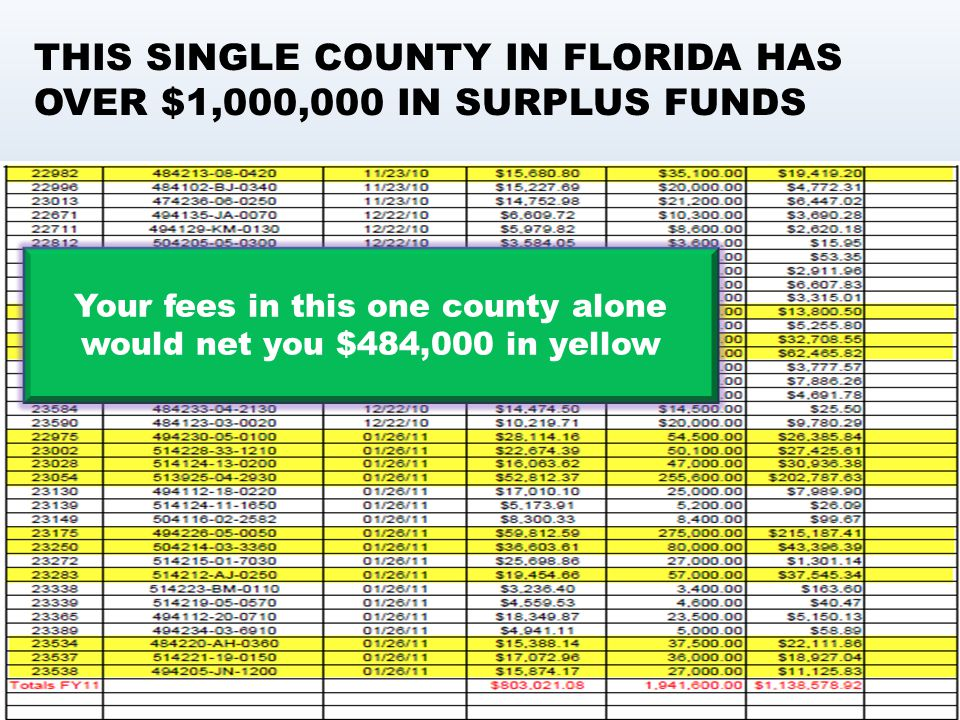 Your fees in this one county alone would net you $484,000 in yellow