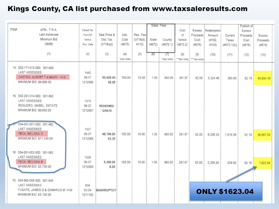 Kings County, CA list purchased from www.taxsaleresults.com