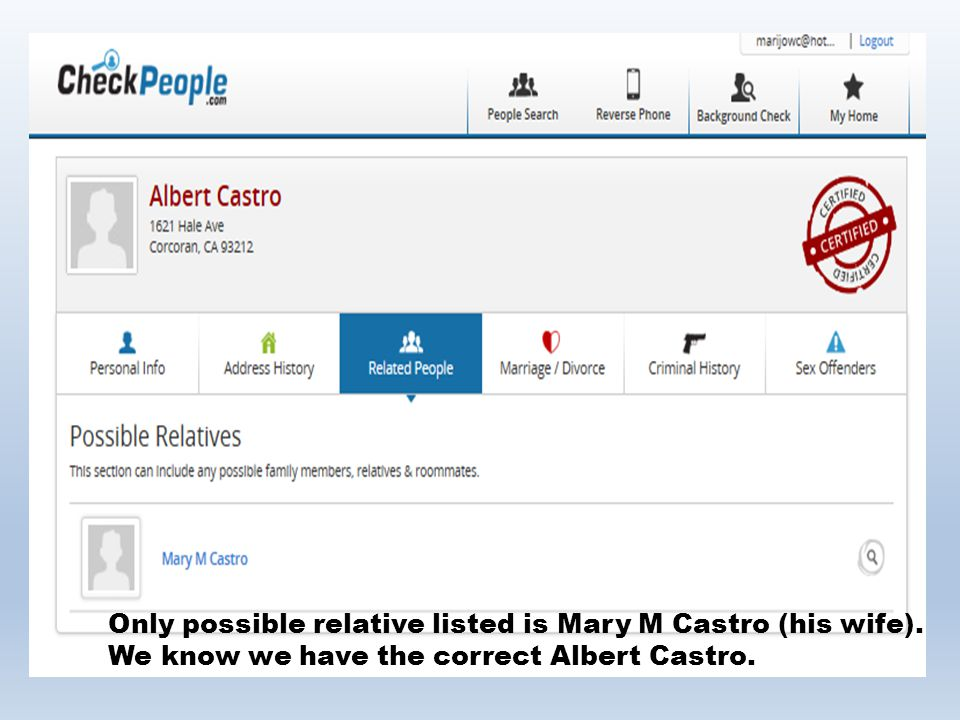 Only possible relative listed is Mary M Castro (his wife)