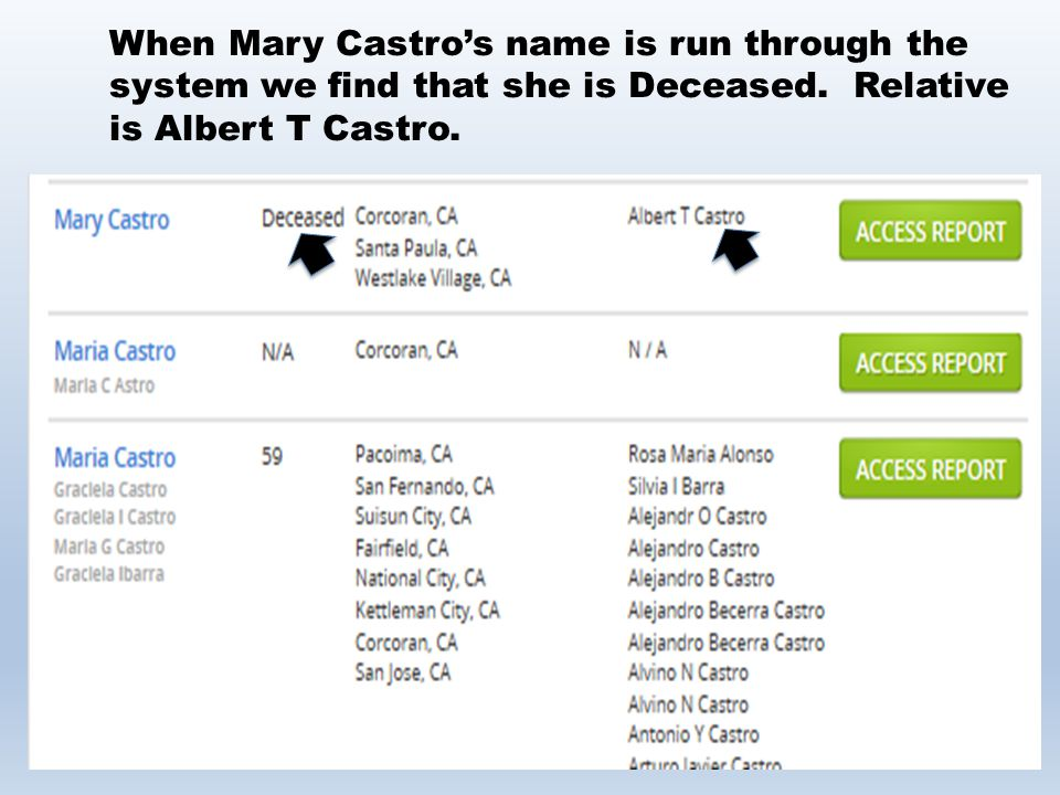 When Mary Castro's name is run through the system we find that she is Deceased.