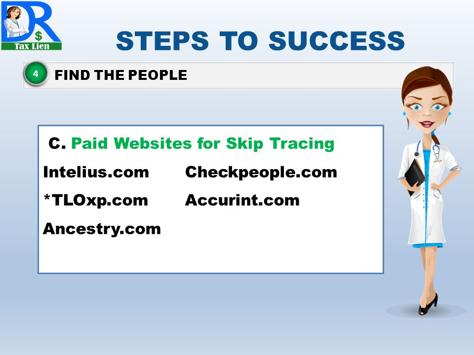 STEPS TO SUCCESS C. Paid Websites for Skip Tracing