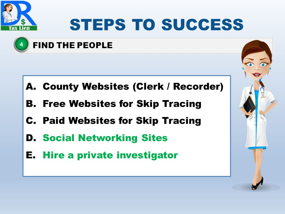 STEPS TO SUCCESS County Websites (Clerk / Recorder)
