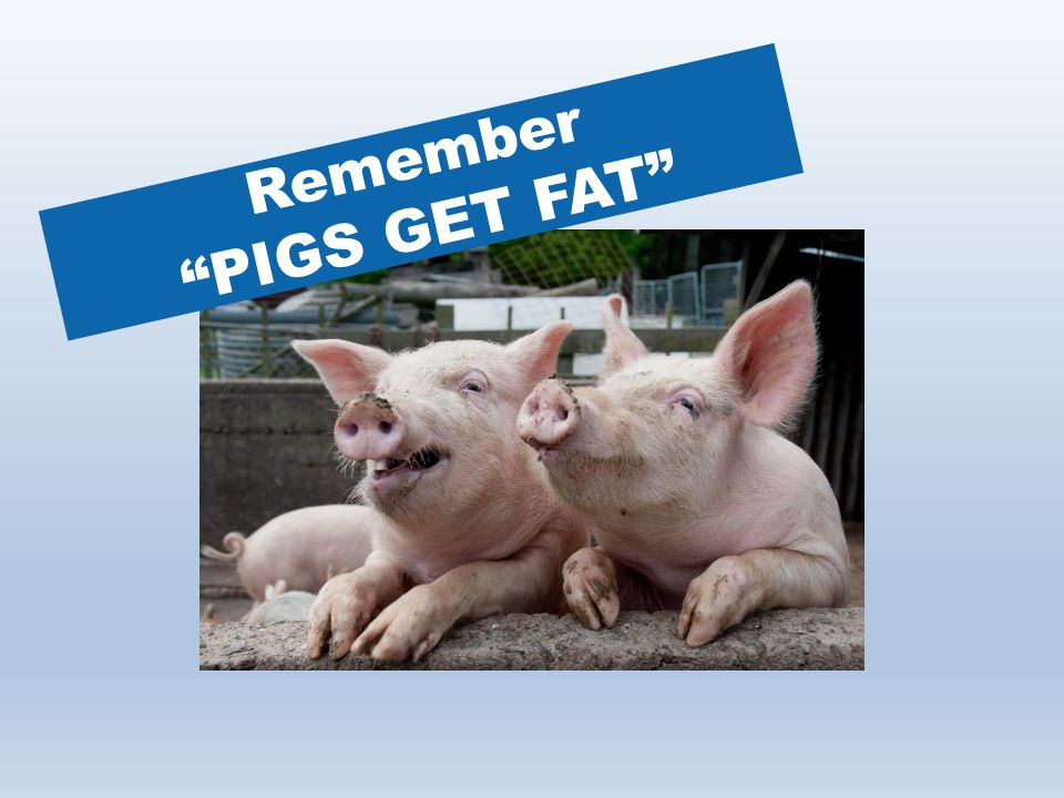 Remember PIGS GET FAT