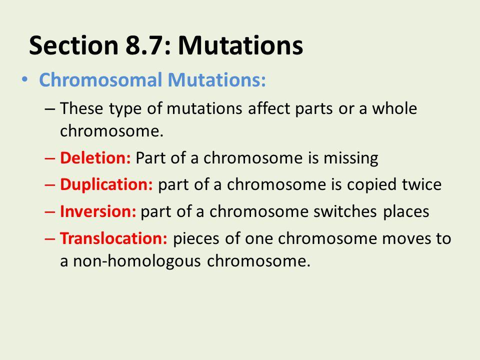 Section 8.7: Mutations Chromosomal Mutations: