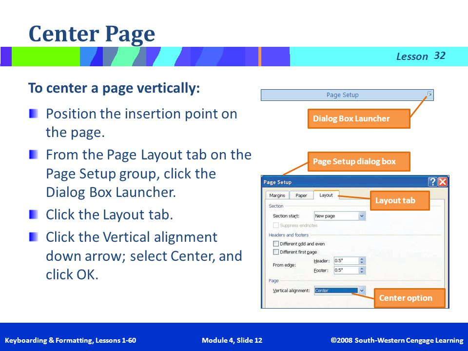 Center Page To center a page vertically: