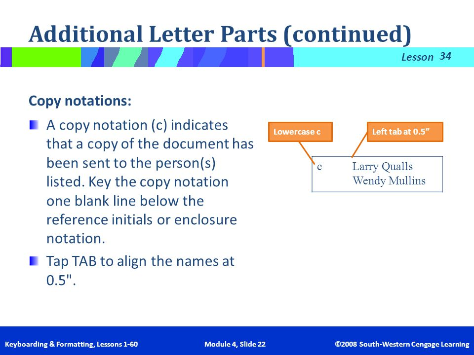 Additional Letter Parts (continued)