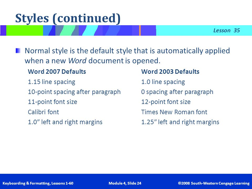 Styles (continued) 35. Normal style is the default style that is automatically applied when a new Word document is opened.
