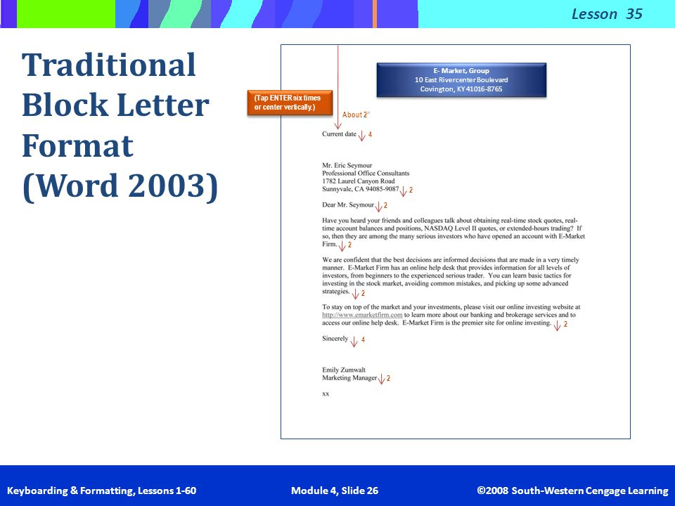 Traditional Block Letter Format (Word 2003)