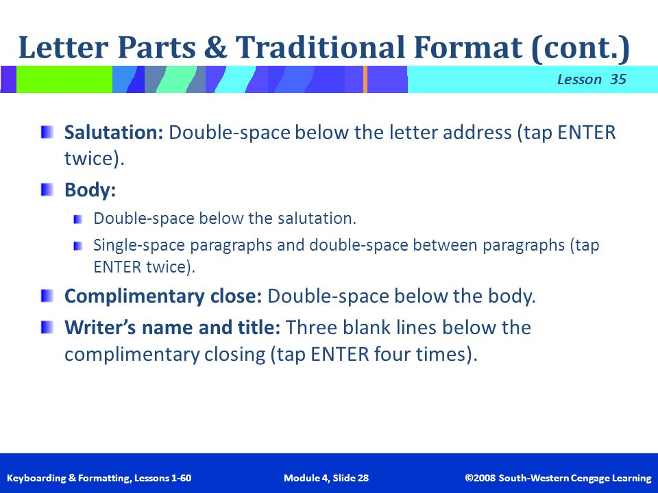 Letter Parts & Traditional Format (cont.)
