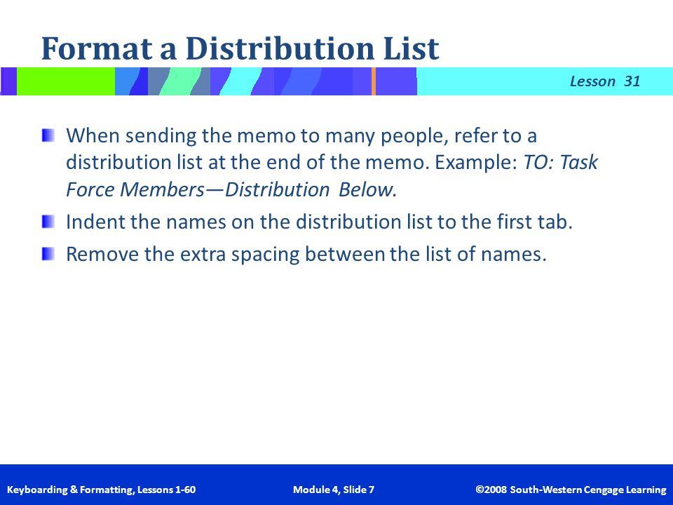 Format a Distribution List