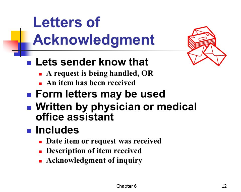 Letters of Acknowledgment