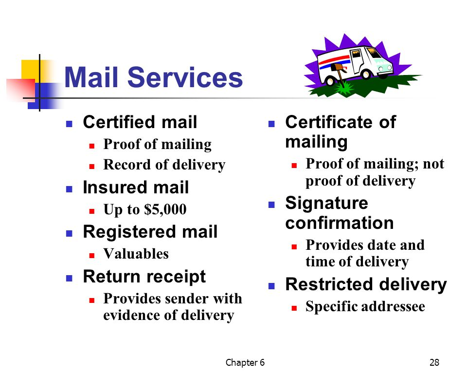 Mail Services Certified mail Insured mail Registered mail