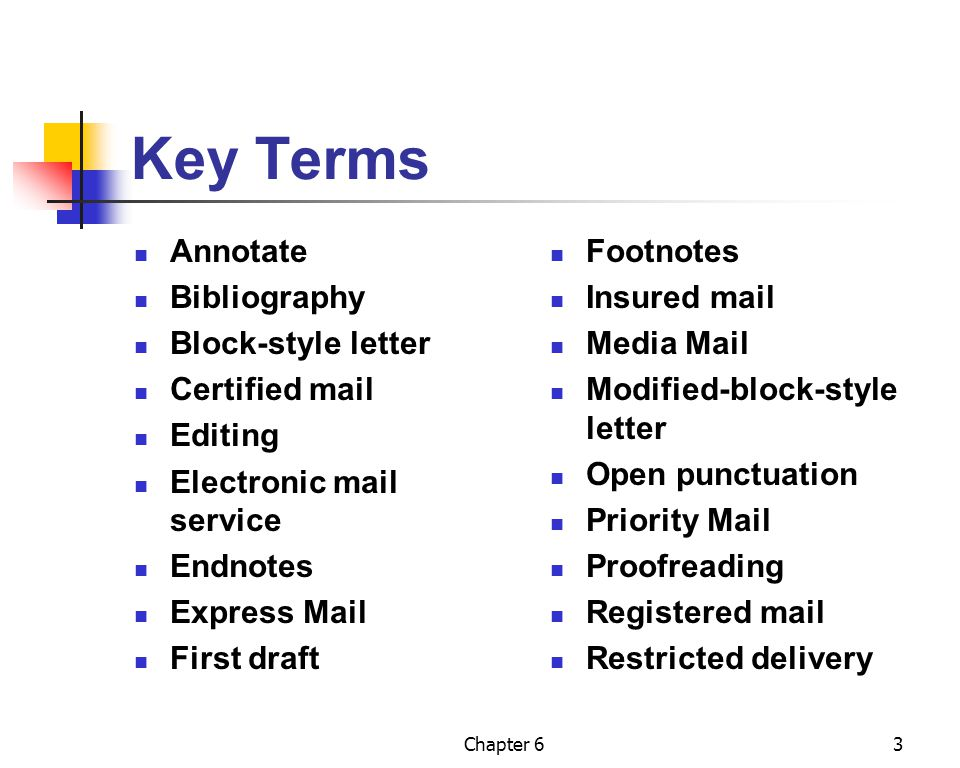 Key Terms Annotate Bibliography Block-style letter Certified mail