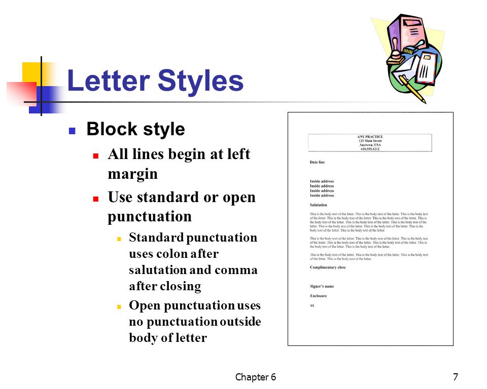 Letter Styles Block style All lines begin at left margin