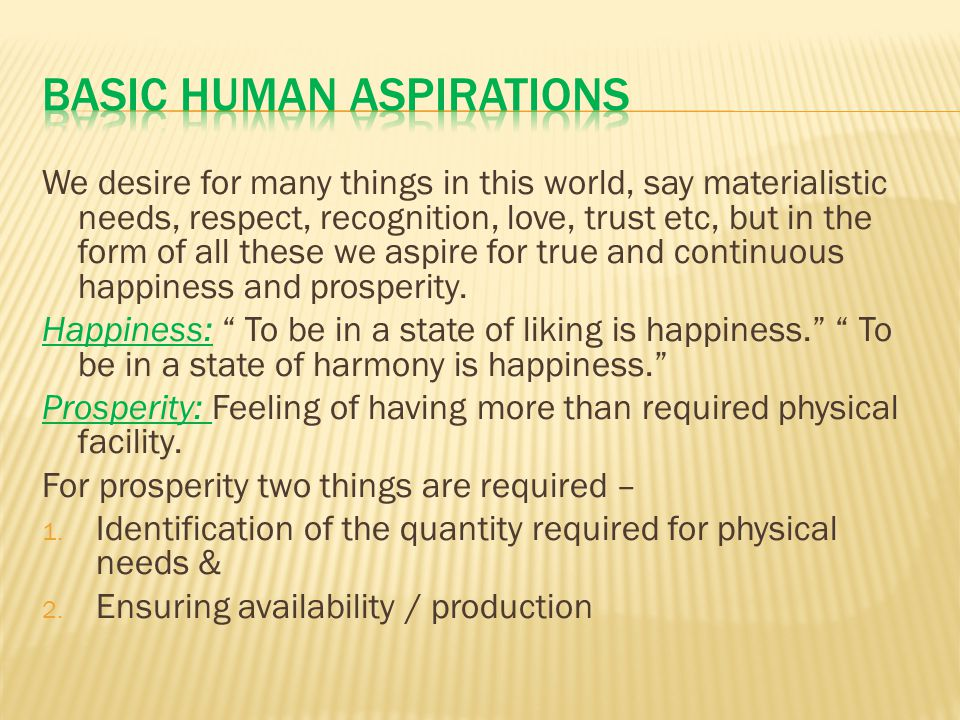 Basic Human Aspirations