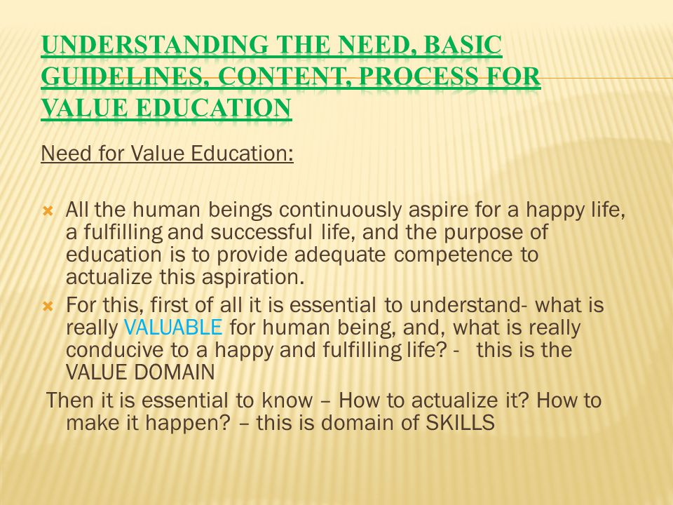 Understanding the need, basic guidelines, content, process for Value Education
