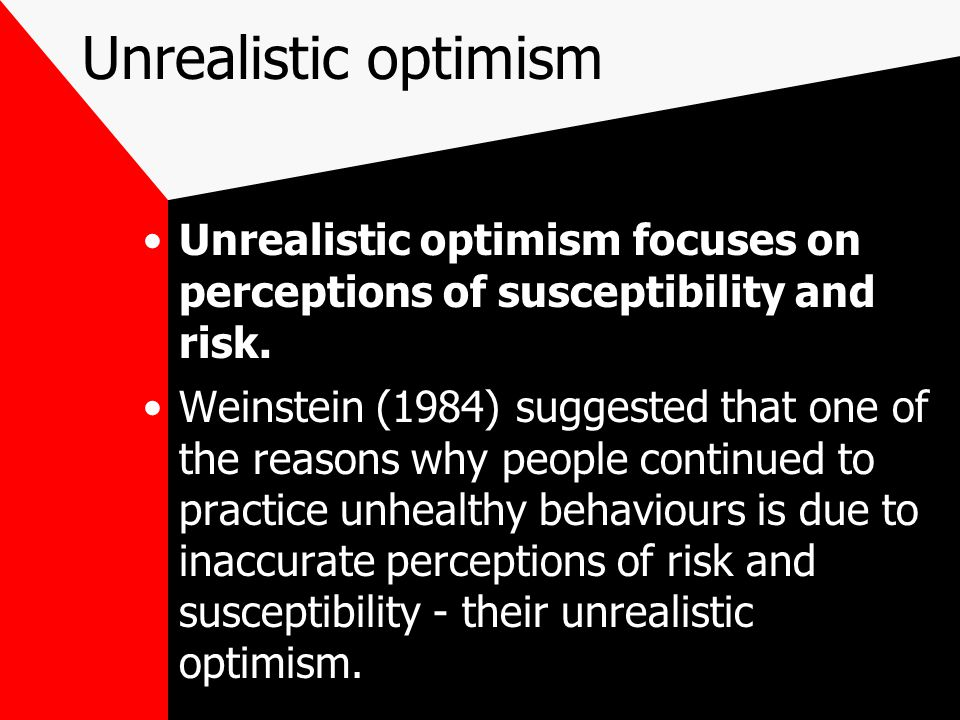 Unrealistic optimism Unrealistic optimism focuses on perceptions of susceptibility and risk.