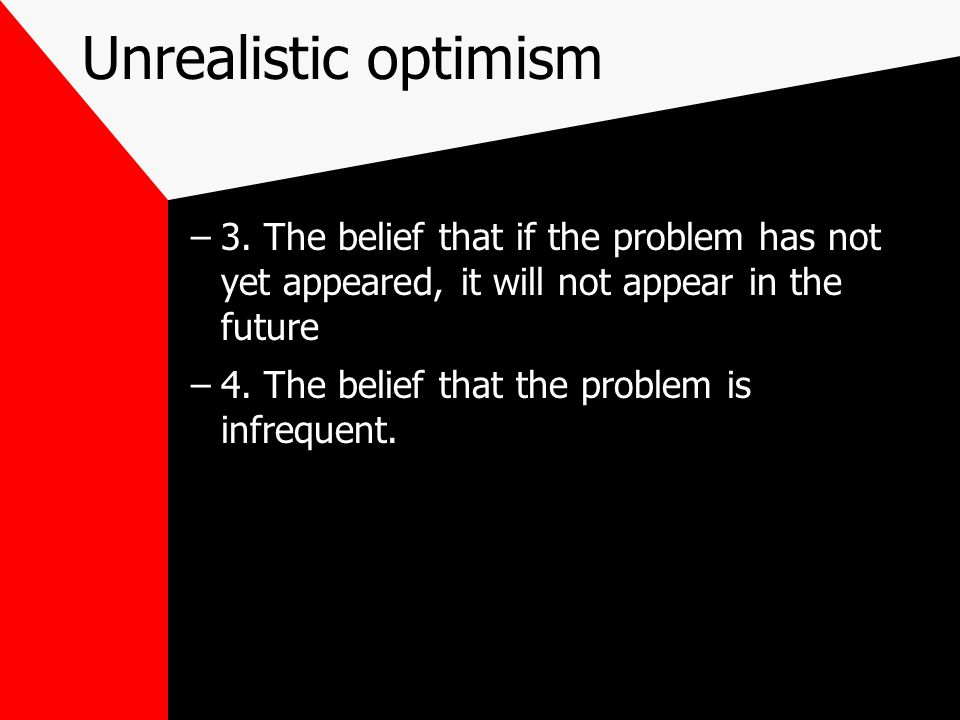 Unrealistic optimism 3. The belief that if the problem has not yet appeared, it will not appear in the future.