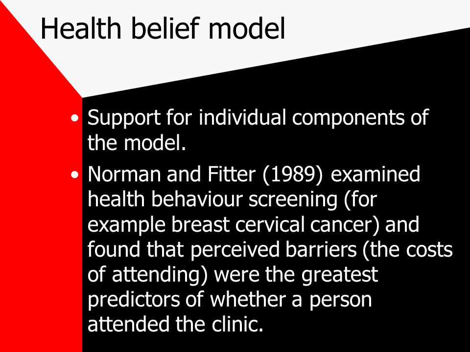 Health belief model Support for individual components of the model.
