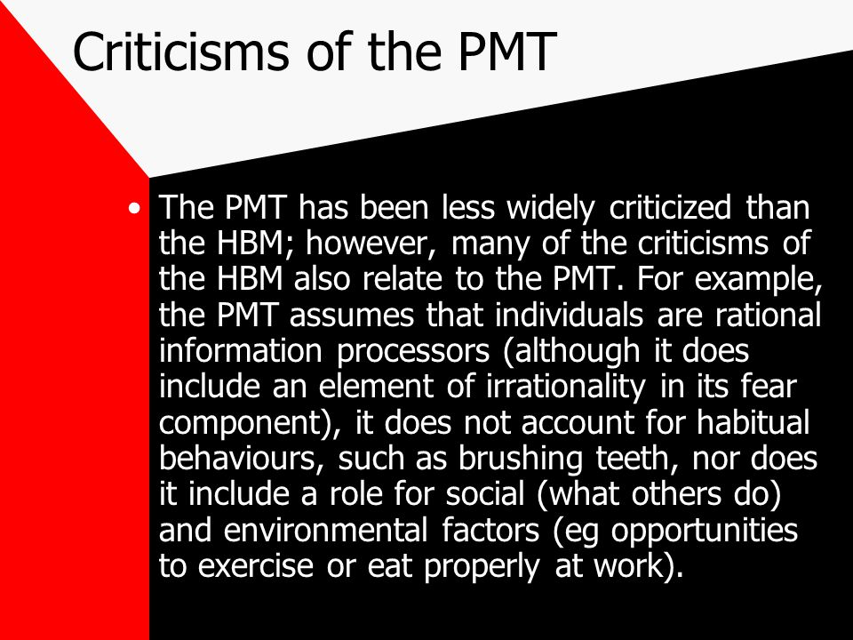 Criticisms of the PMT