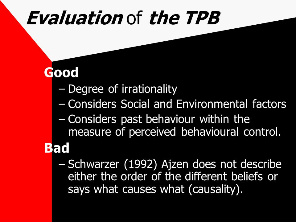 Evaluation of the TPB Good Bad Degree of irrationality
