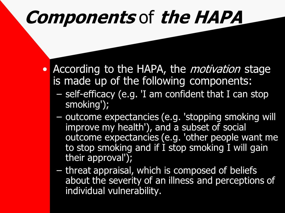 Components of the HAPA According to the HAPA, the motivation stage is made up of the following components:
