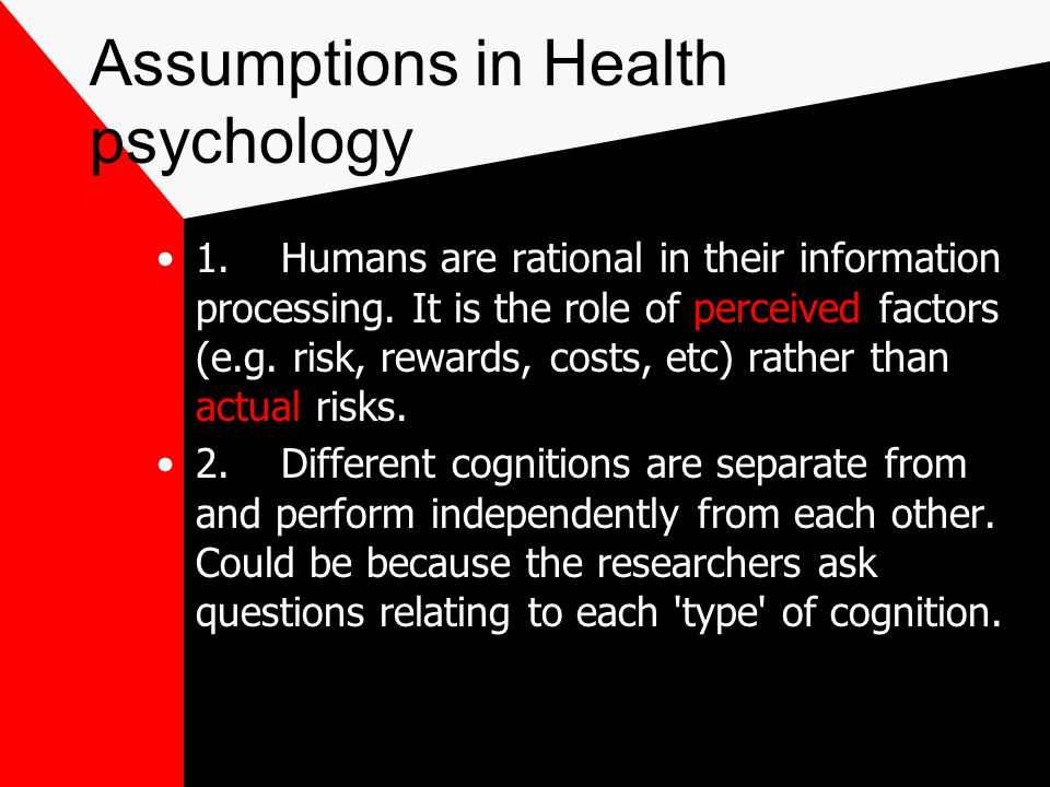 Assumptions in Health psychology
