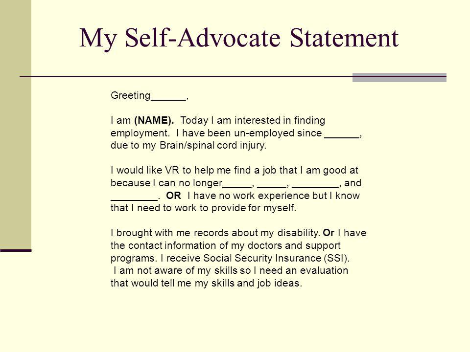 My Self-Advocate Statement