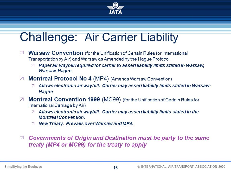 Challenge: Air Carrier Liability