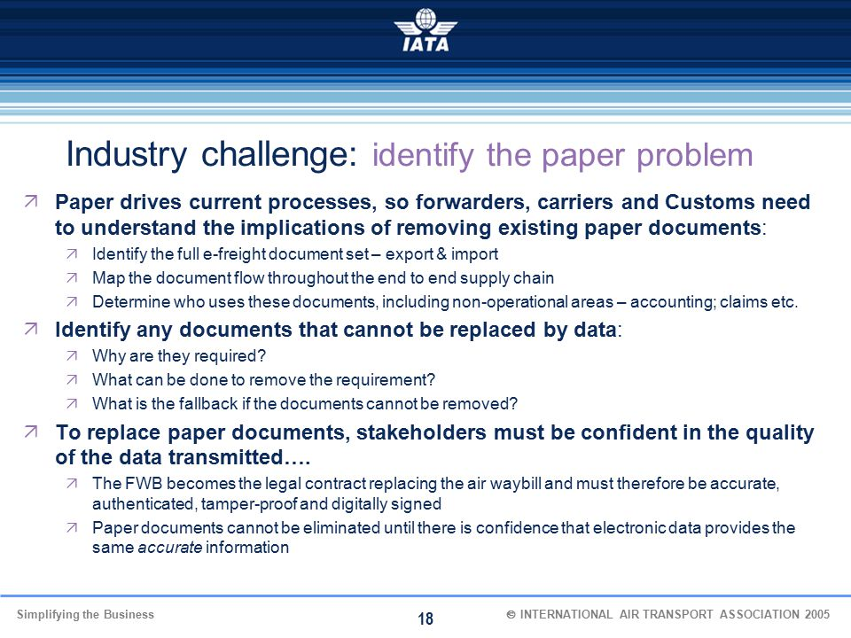 Industry challenge: identify the paper problem