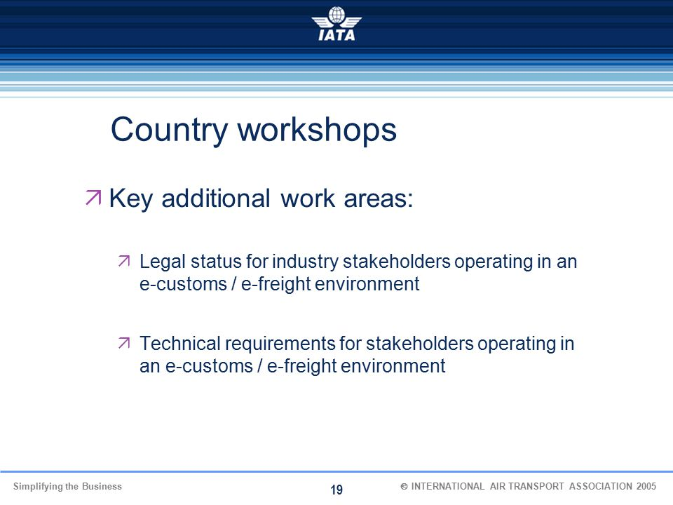 Country workshops Key additional work areas: