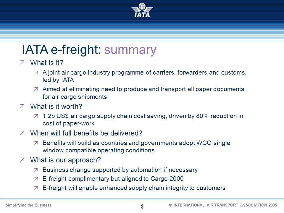 IATA e-freight: summary
