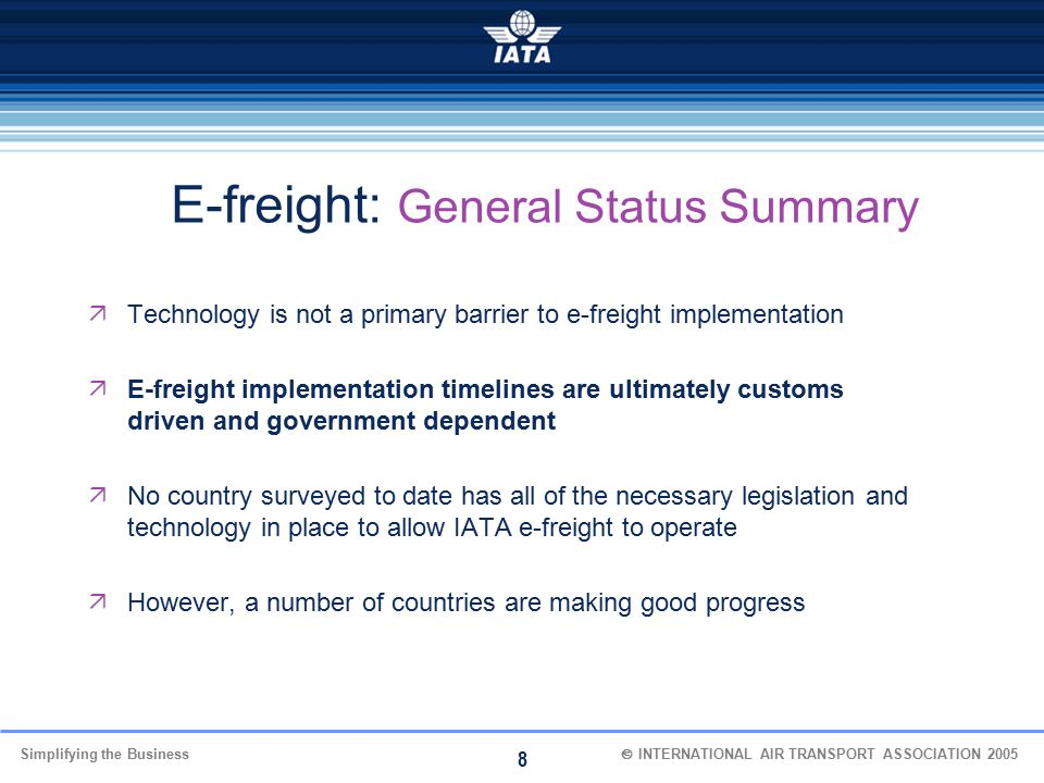 E-freight: General Status Summary