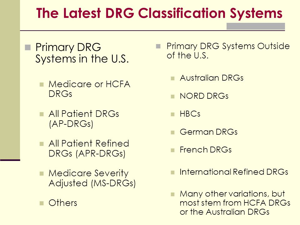 The Latest DRG Classification Systems