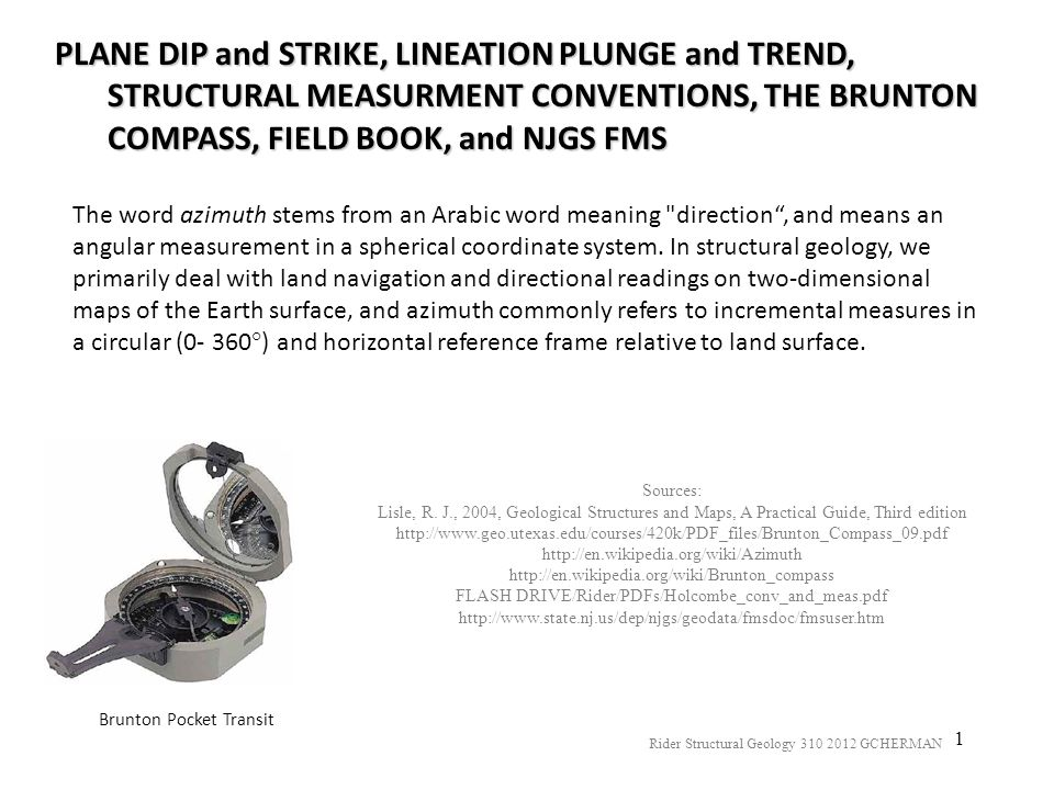 PLANE DIP and STRIKE, LINEATION PLUNGE and TREND, STRUCTURAL MEASURMENT CONVENTIONS, THE BRUNTON COMPASS, FIELD BOOK, and NJGS FMS
